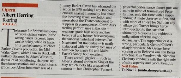 Albert Herring 4**** in The Times!